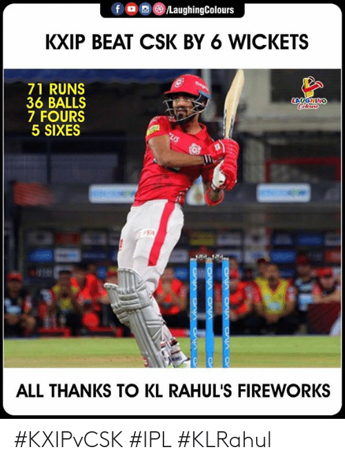 Fireworks, Indianpeoplefacebook, and Ipl: KXIP BEAT CSK BY 6 WICKETS  71 RUNS  36 BALLS  7 FOURS  5 SIXES  ALL THANKS TO KL RAHUL'S FIREWORKS #KXIPvCSK #IPL #KLRahul