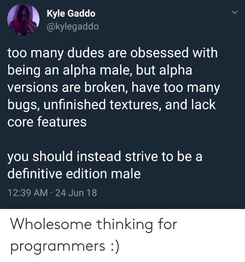 Wholesome, Alpha, and Core: Kyle Gaddo  @kylegaddo  too many dudes are obsessed with  being an alpha male, but alpha  versions are broken, have too many  bugs, unfinished textures, and lack  core features  you should instead strive to be a  definitive edition male  12:39 AM 24 Jun 18  > Wholesome thinking for programmers :)