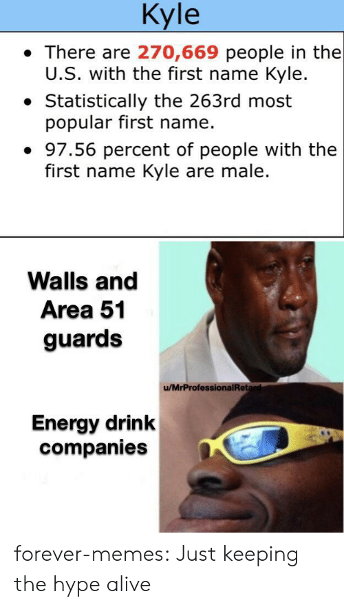 Alive, Energy, and Hype: Kyle  There are 270,669 people in the  U.S. with the first name Kyle.  Statistically the 263rd most  popular first name.  97.56 percent of people with the  first name Kyle are male.  Walls and  Area 51  guards  /MrProfessionalRetard  Energy drink  companies forever-memes:  Just keeping the hype alive