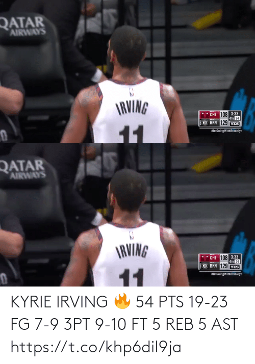 reb: KYRIE IRVING 🔥  54 PTS 19-23 FG 7-9 3PT 9-10 FT 5 REB 5 AST  https://t.co/khp6diI9ja