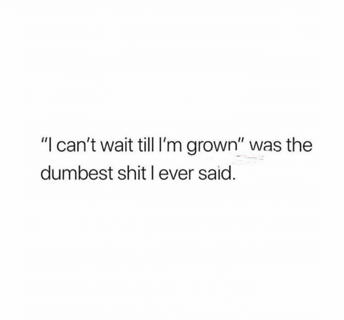 """Shit, Wait, and Dumbest: """"l can't wait till I'm grown"""" was the  dumbest shit l ever said."""