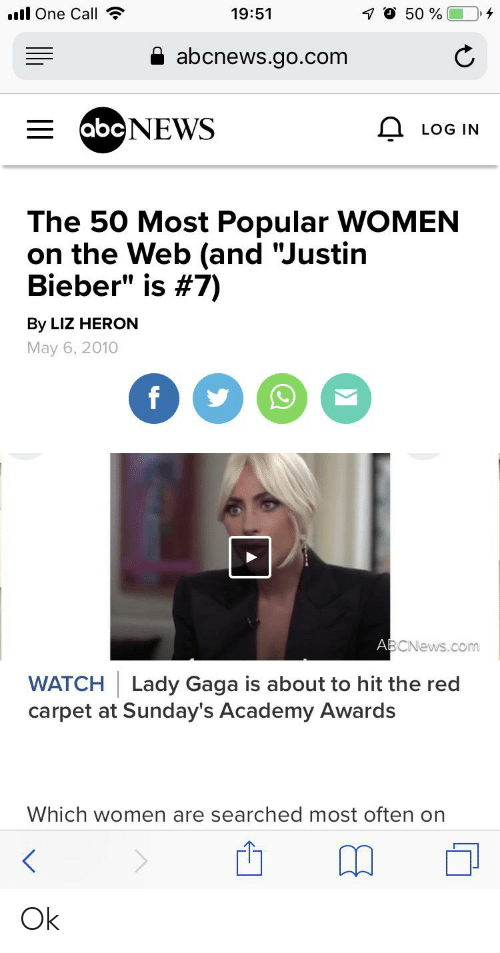 "Academy Awards, Facepalm, and Justin Bieber: l One Call  7O 50 %  19:51  abcnews.go.com  EabcNEWS  LOG IN  The 50 Most Popular WOMEN  on the Web (and ""Justin  Bieber"" is #7)  By LIZ HERON  May 6, 2010  f  ABCNews.com  WATCH Lady Gaga is about to hit the red  carpet at Sunday's Academy Awards  Which women are searched most often on Ok"