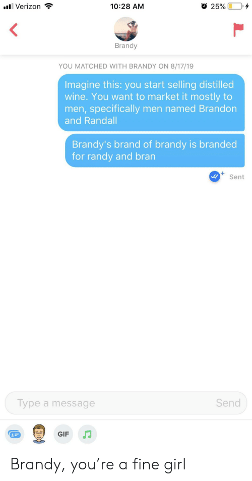 specifically: l Verizon  10:28 AM  25%  Brandy  YOU MATCHED WITH BRANDY ON 8/17/19  Imagine this: you start selling distilled  wine. You want to market it mostly to  men,specifically men named Brandon  and Randall  Brandy's brand of brandy is branded  for randy and bran  Sent  Send  Type a message  GIF Brandy, you're a fine girl