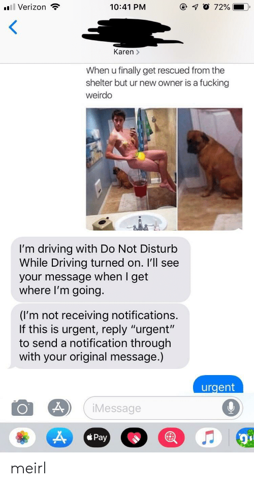 "weirdo: l Verizon  10:41 PM  Karen >  When u finally get rescued from the  shelter but ur new owner is a fucking  weirdo  I'm driving with Do Not Disturb  While Driving turned on. I'll see  your message when I get  where I'm going.  (I'm not receiving notifications  If this is urgent, reply ""urgent'""  to send a notification through  with your original message.)  urgent  Message  Pay meirl"