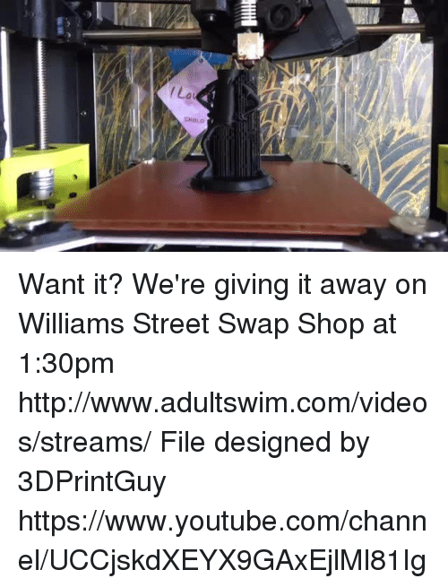 `Youtube Com: La  SMBLO  MM Want it?  We're giving it away on Williams Street Swap Shop at 1:30pm http://www.adultswim.com/videos/streams/  File designed by  3DPrintGuy  https://www.youtube.com/channel/UCCjskdXEYX9GAxEjlMl81Ig