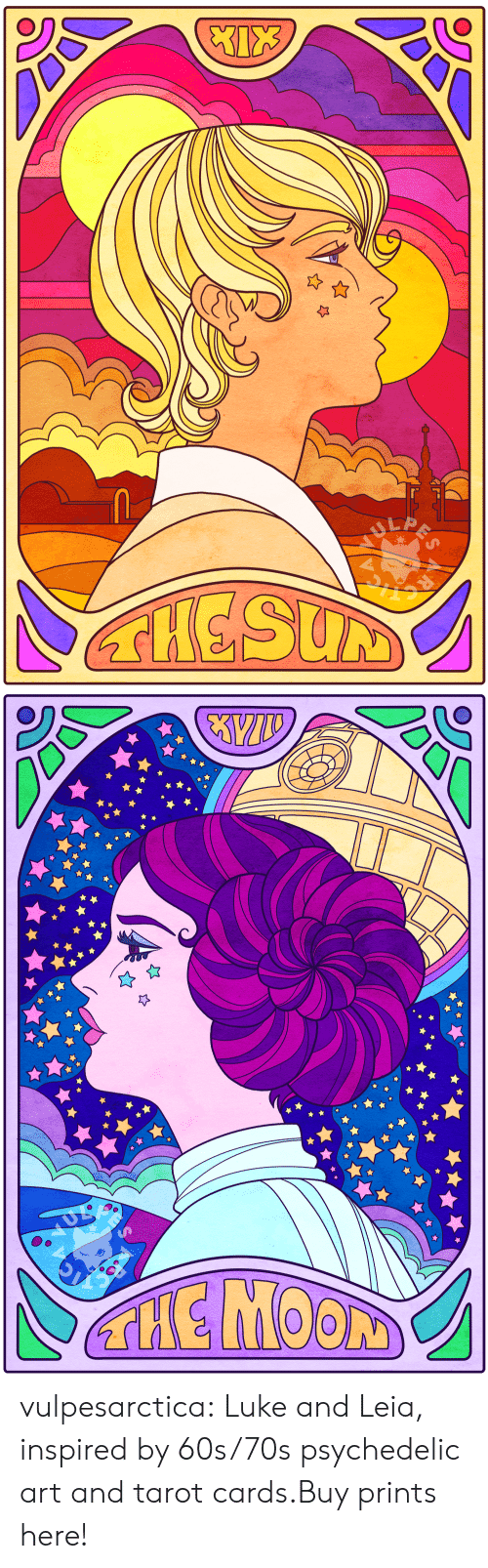 Etsy: LA  THESUM   THE MOON vulpesarctica:  Luke and Leia, inspired by 60s/70s psychedelic art and tarot cards.Buy prints here!
