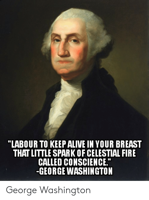 "Fire, George Washington, and Conscience: ""LABOUR TO KEEPALIVE IN YOUR BREAST  THAT LITTLE SPARK OF CELESTIAL FIRE  CALLED CONSCIENCE.""  -GEORGE WASHINGTON George Washington"
