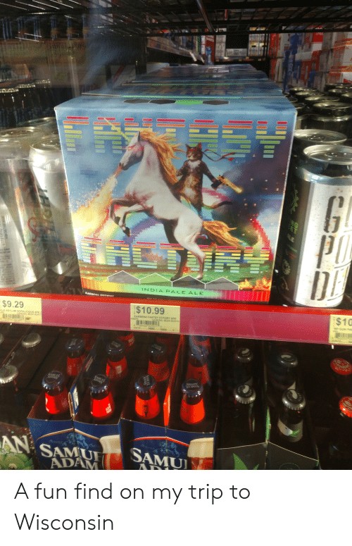 Beer, Wisconsin, and Fun: LAC  NG  KT  LE  PAC  1NDIA PALE ALE  VA  KARDENG SsE G  $10  $10.99  SPGUN P  KARBEN4 FANTSY FCTORY 6PK  CENERAL BEER NORTH  $9.29  ALE ASYLM HOPALICIOUS SPK  R ER NORT  58423 0050  24/12  OETOB  FST  AN  SAMUI  AD  SAMUI  ADAM  SAMUEL  ADAMS  a50103-18019868 A fun find on my trip to Wisconsin