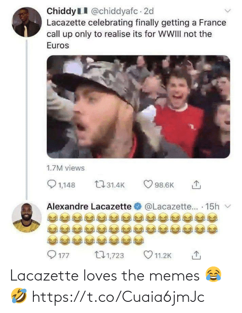 The Memes: Lacazette loves the memes 😂🤣 https://t.co/Cuaia6jmJc