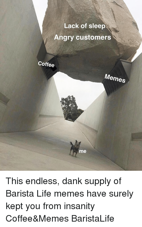Life Memes: Lack of sleep  Angry customers  Coffee  Memes  me This endless, dank supply of Barista Life memes have surely kept you from insanity Coffee&Memes BaristaLife