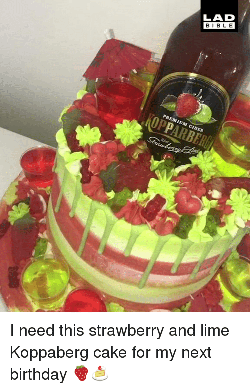 Birthday, Dank, and Bible: LAD  BIBLE  PREMIUM CIDER I need this strawberry and lime Koppaberg cake for my next birthday 🍓🍰