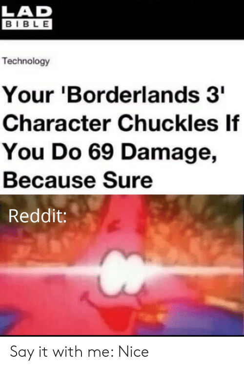 chuckles: LAD  BIBLE  Technology  Your 'Borderlands 3  Character Chuckles If  You Do 69 Damage,  Because Sure  Reddit: Say it with me: Nice