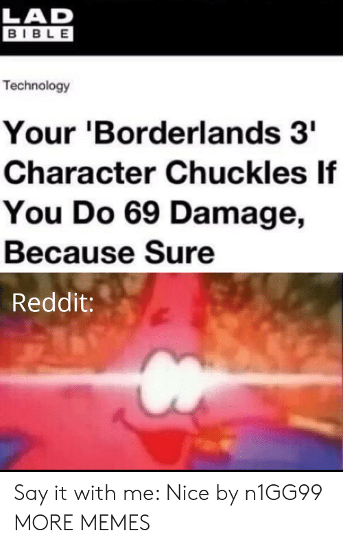 Bible: LAD  BIBLE  Technology  Your 'Borderlands 3  Character Chuckles If  You Do 69 Damage,  Because Sure  Reddit: Say it with me: Nice by n1GG99 MORE MEMES