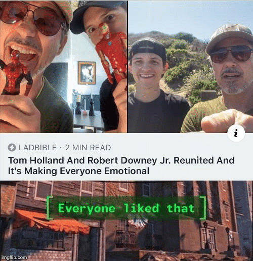 Downey: LADBIBLE 2 MIN READ  Tom Holland And Robert Downey Jr. Reunited And  It's Making Everyone Emotional  Everyone 1iked that  imgflip.com