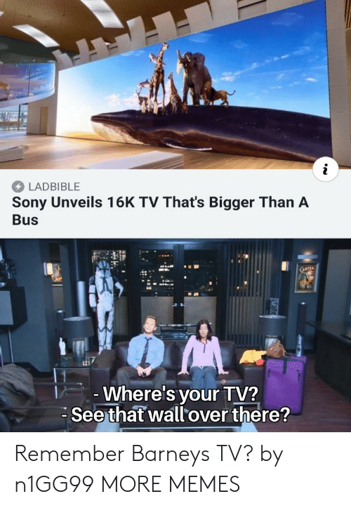 Barney: LADBIBLE  Sony Unveils 16K TV That's Bigger Than A  Bus  Where's your TV?  Seethat wallover there? Remember Barneys TV? by n1GG99 MORE MEMES