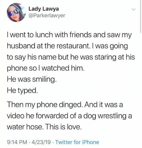 hose: Lady Lawya  @Parkerlawyer  I went to lunch with friends and saw my  husband at the restaurant. I was going  to say his name but he was staring at his  phone sol watched him  He was smiling  He typed.  Then my phone dinged. And it was a  video he forwarded of a dog wrestling a  water hose. This is love.  9:14 PM 4/23/19 Twitter for iPhone