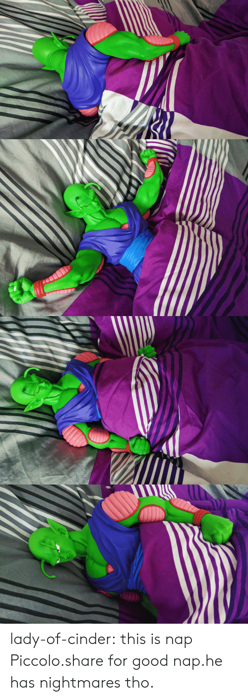 Piccolo, Tumblr, and Blog: lady-of-cinder:  this is nap Piccolo.share for good nap.he has nightmares tho.