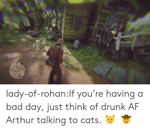 Arthur: lady-of-rohan:If you're having a bad day, just think of drunk AF Arthur talking to cats. 🐱     🤠