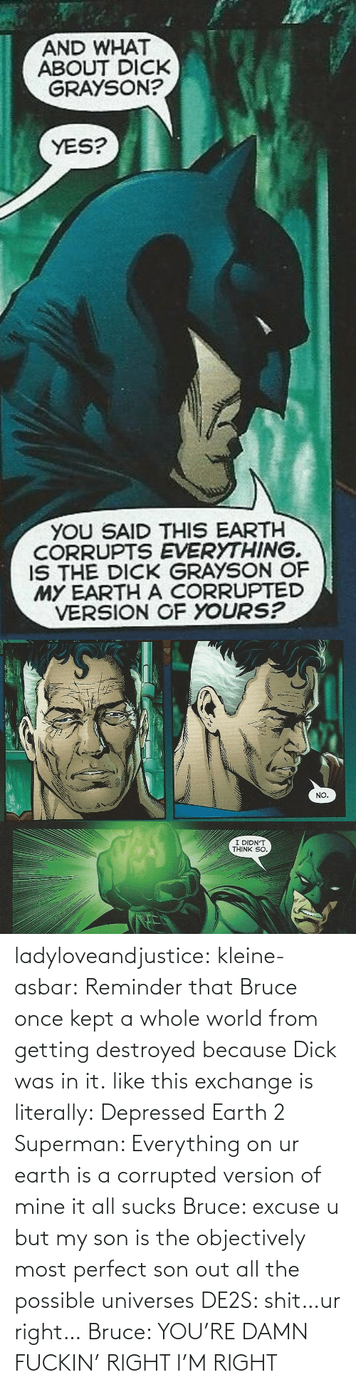 excuse: ladyloveandjustice:  kleine-asbar: Reminder that Bruce once kept a whole world from getting destroyed because Dick was in it. like this exchange is literally: Depressed Earth 2 Superman: Everything on ur earth is a corrupted version of mine it all sucks Bruce: excuse u but my son is the objectively most perfect son out all the possible universes DE2S: shit…ur right… Bruce: YOU'RE DAMN FUCKIN' RIGHT I'M RIGHT