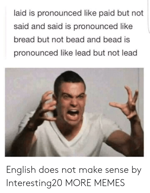 Dank, Memes, and Target: laid is pronounced like paid but not  said and said is pronounced like  bread but not bead and bead is  pronounced like lead but not lead English does not make sense by Interesting20 MORE MEMES