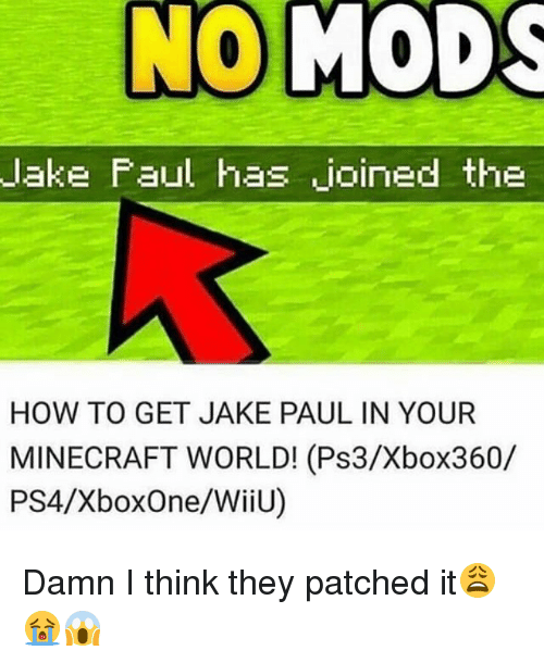 minecrafte: lake Faul has joined the  HOW TO GET JAKE PAUL IN YOUR  MINECRAFT WORLD! (Ps3/Xbox360/  PS4/XboxOne/WiiU) Damn I think they patched it😩😭😱
