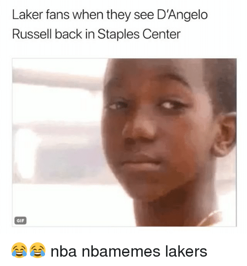 Staples Center: Laker fans when they see D'Angelo  Russell back in Staples Center  GIF 😂😂 nba nbamemes lakers