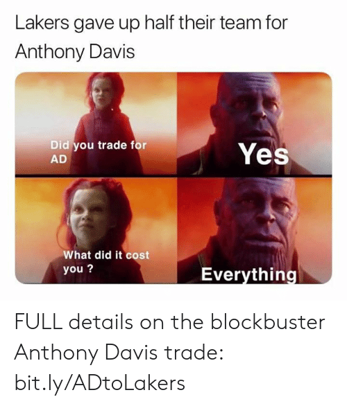Blockbuster, Los Angeles Lakers, and Nba: Lakers gave up half their team for  Anthony Davis  Did you trade for  AD  Yes  What did it cost  you?  Everything FULL details on the blockbuster Anthony Davis trade: bit.ly/ADtoLakers
