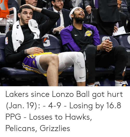 ppg: Lakers since Lonzo Ball got hurt (Jan. 19):  - 4-9 - Losing by 16.8 PPG - Losses to Hawks, Pelicans, Grizzlies