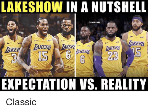 expectation vs reality: LAKESHOW IN A NUTSHELL  @NBAMEMES  wish  wish  wish  AKERS  wish  AKERS  AKERSAKERS  EXPECTATION VS. REALITY Classic