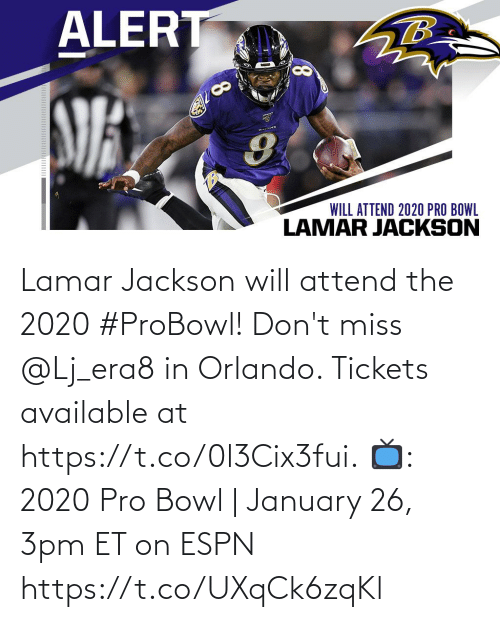 Orlando: Lamar Jackson will attend the 2020 #ProBowl!  Don't miss @Lj_era8 in Orlando. Tickets available at https://t.co/0l3Cix3fui.  📺: 2020 Pro Bowl | January 26, 3pm ET on ESPN https://t.co/UXqCk6zqKl