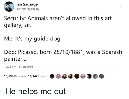 painter: lan Sausage  @stephenjmolloy  Security: Animals aren't allowed in this art  gallery, sir.  Me: It's my guide dog  Dog: Picasso, born 25/10/1881, was a Spanish  painter  10:28 PM-5 Jan 2016  10,699 Retweets 16,342 Likes·ⓦ@G.ⓦ馕@. He helps me out