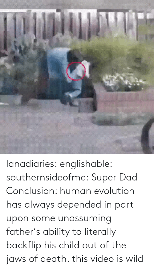 Evolution: lanadiaries: englishable:   southernsideofme:  Super Dad  Conclusion: human evolution has always depended in part upon some unassuming father's ability to literally backflip his child out of the jaws of death.    this video is wild