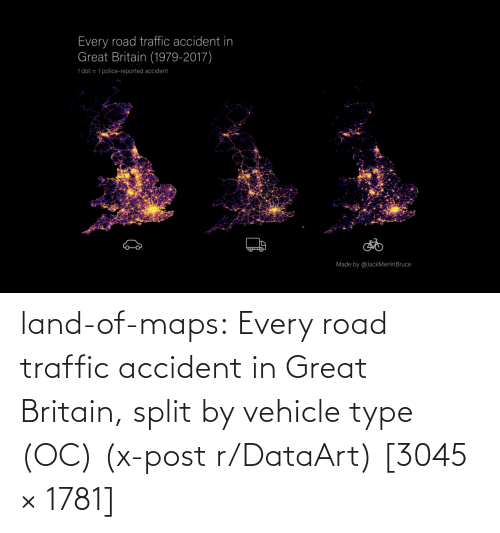 road: land-of-maps:  Every road traffic accident in Great Britain, split by vehicle type (OC) (x-post r/DataArt) [3045 × 1781]