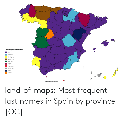 Spain: land-of-maps:  Most frequent last names in Spain by province [OC]