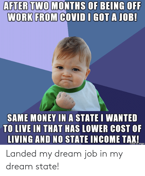 job: Landed my dream job in my dream state!
