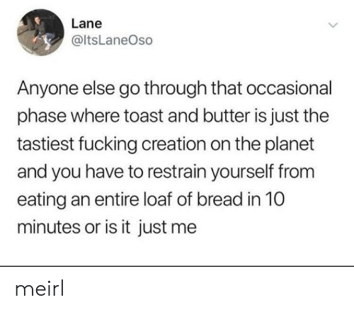 Is It Just Me: Lane  @ItsLaneOso  Anyone else go through that occasional  phase where toast and butter is just the  tastiest fucking creation on the planet  and you have to restrain yourself from  eating an entire loaf of bread in 10  minutes or is it just me meirl