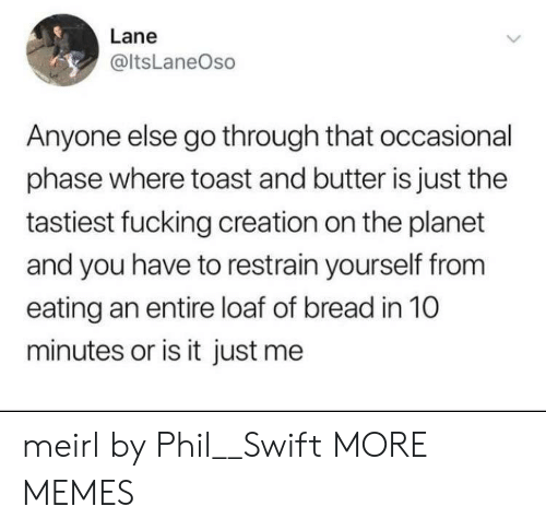 Is It Just Me: Lane  @ltsLaneOso  Anyone else go through that occasional  phase where toast and butter is just the  tastiest fucking creation on the planet  and you have to restrain yourself from  eating an entire loaf of bread in 10  minutes or is it just me meirl by Phil__Swift MORE MEMES