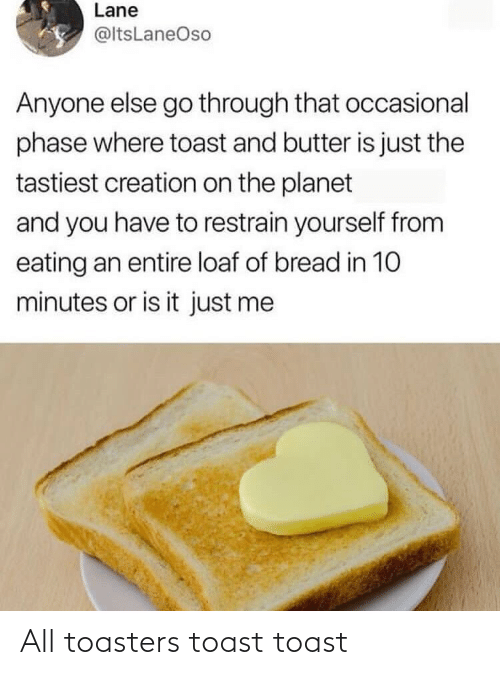 Is Just: Lane  @ltsLaneOso  Anyone else go through that occasional  phase where toast and butter is just the  tastiest creation on the planet  and you have to restrain yourself from  eating an entire loaf of bread in 10  minutes or is it just me All toasters toast toast