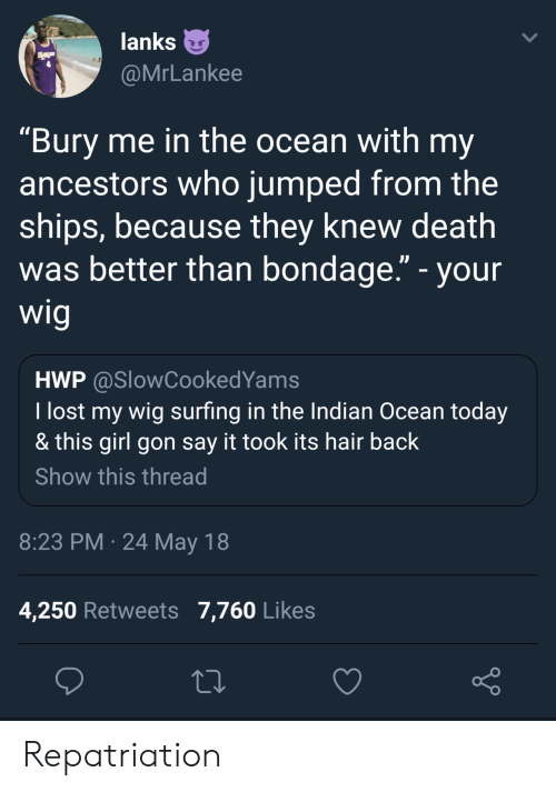 """surfing: lanks  @MrLankee  """"Bury me in the ocean with my  ancestors who jumped from the  ships, because they knew death  was better than bondage."""" - your  wig  HWP @SlowCookedYams  I lost my wig surfing in the Indian Ocean today  & this girl gon say it took its hair back  Show this thread  8:23 PM 24 May 18  4,250 Retweets 7,760 Likes Repatriation"""