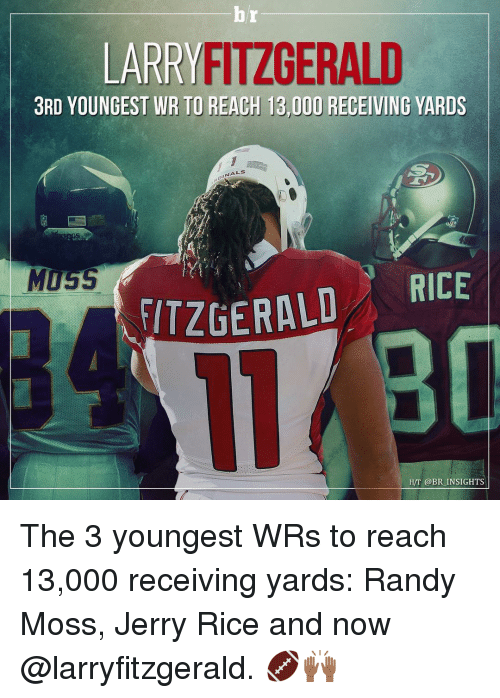 randy moss: LARRY FITZGERALD  3RD YOUNGEST WR TO REACH 13,000 RECEIVING YARDS  MUSS  FITZGERALD  RICE  H/T @BR INSIGHTS The 3 youngest WRs to reach 13,000 receiving yards: Randy Moss, Jerry Rice and now @larryfitzgerald. 🏈🙌🏾