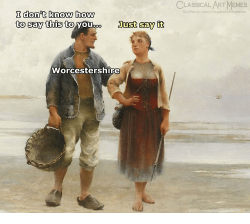 Facebook, Memes, and Say It: LASSİCALART MEMES  facebook.com/classicalartmemes  I don t know how  to say this to  Just say it  Worcestershire