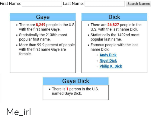 Philip: |Last Name:  First Name:  Search Names  Dick  Gaye  There are 8,249 people in the U.S.  with the first name Gaye.  There are 26,827 people in the  U.S. with the last name Dick.  Statistically the 1492nd most  popular last name.  Famous people with the last  name Dick:  Statistically the 2138th most  popular first name.  More than 99.9 percent of people  with the first name Gaye are  female.  Andy Dick  Nigel Dick  Philip K. Dick  Gaye Dick  There is 1 person in the U.S.  named Gaye Dick. Me_irl
