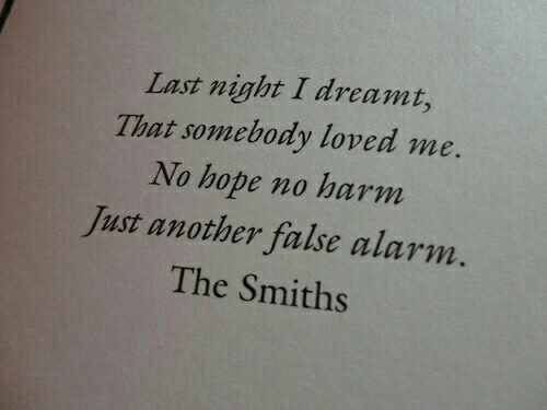 Alarm, Hope, and Another: Last night I dreami,  That somebody loved me.  No hope no harm  Just another false alarm.  The Smiths