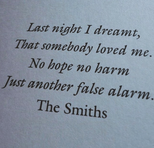 smiths: Last night I dreamt,  That somebody loved me  No hope no harm  Just another false alarm  The Smiths