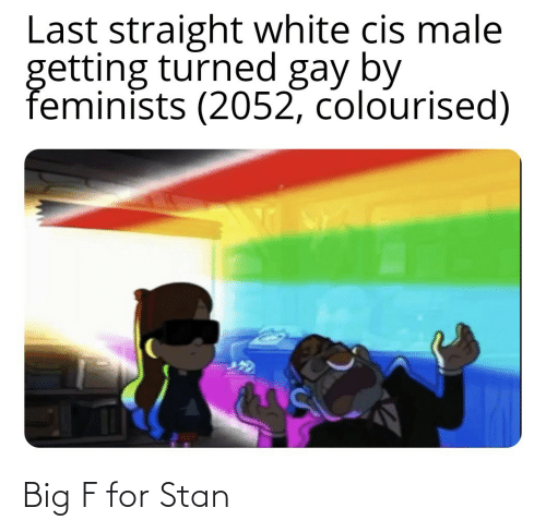 straight: Last straight white cis male  getting turned gay by  feminists (2052, colourised) Big F for Stan