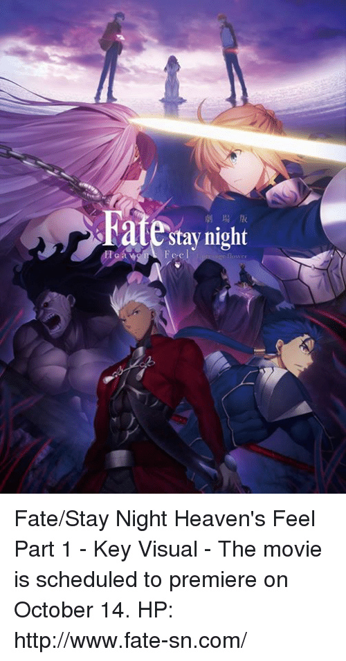 fate stay: late Feel  night Fate/Stay Night Heaven's Feel Part 1 - Key Visual  - The movie is scheduled to premiere on October 14.  HP: http://www.fate-sn.com/