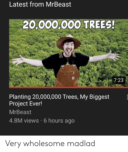 Trees, Wholesome, and Project: Latest from MrBeast  20,000,000 TREES!  7:23  Planting 20,000,000 Trees, My Biggest  Project Ever!  MrBeast  4.8M views 6 hours ago Very wholesome madlad