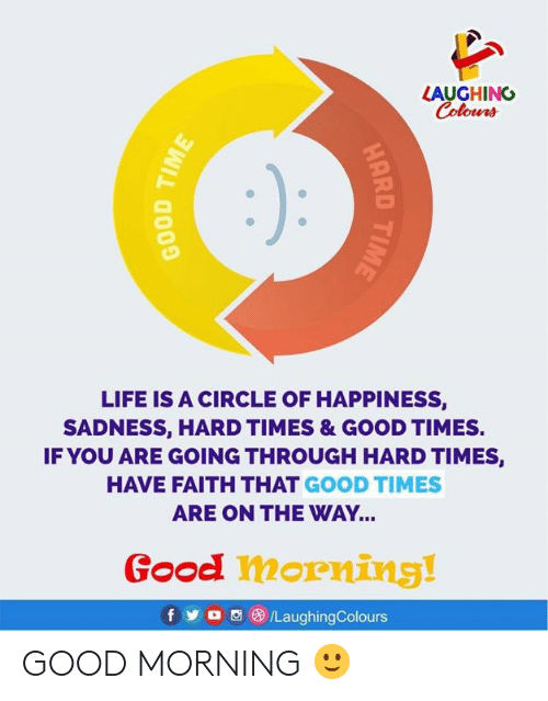 have faith: LAUGHING  Colours  LIFE IS A CIRCLE OF HAPPINESS,  SADNESS, HARD TIMES & GOOD TIMES.  IF YOU ARE GOING THROUGH HARD TIMES,  HAVE FAITH THAT GOOD TIMES  ARE ON THE WAY...  Good morning!  fy  /LaughingColours  HARD TIME  BOOD TIME GOOD MORNING 🙂