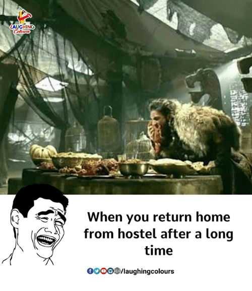 Gooo, Home, and Time: LAUGHING  When you return home  from hostel after a long  time  GOOO®/laughingcolours