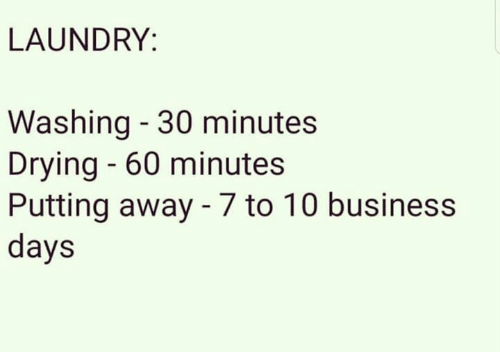 Laundry, Memes, and Business: LAUNDRY:  Washing - 30 minutes  Drying - 60 minute:s  Putting away - 7 to 10 business  days